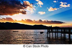 Stock Images of lugu lake.