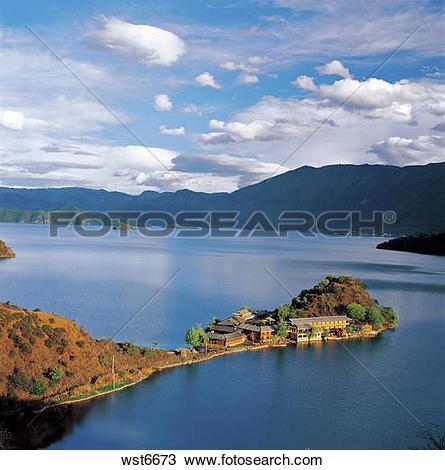 Stock Photo of Lugu Lake,Yunnan,China wst6673.