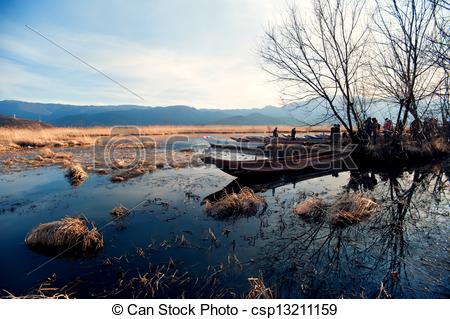 Stock Images of China Yunnan Lugu Lake scenery in winter.
