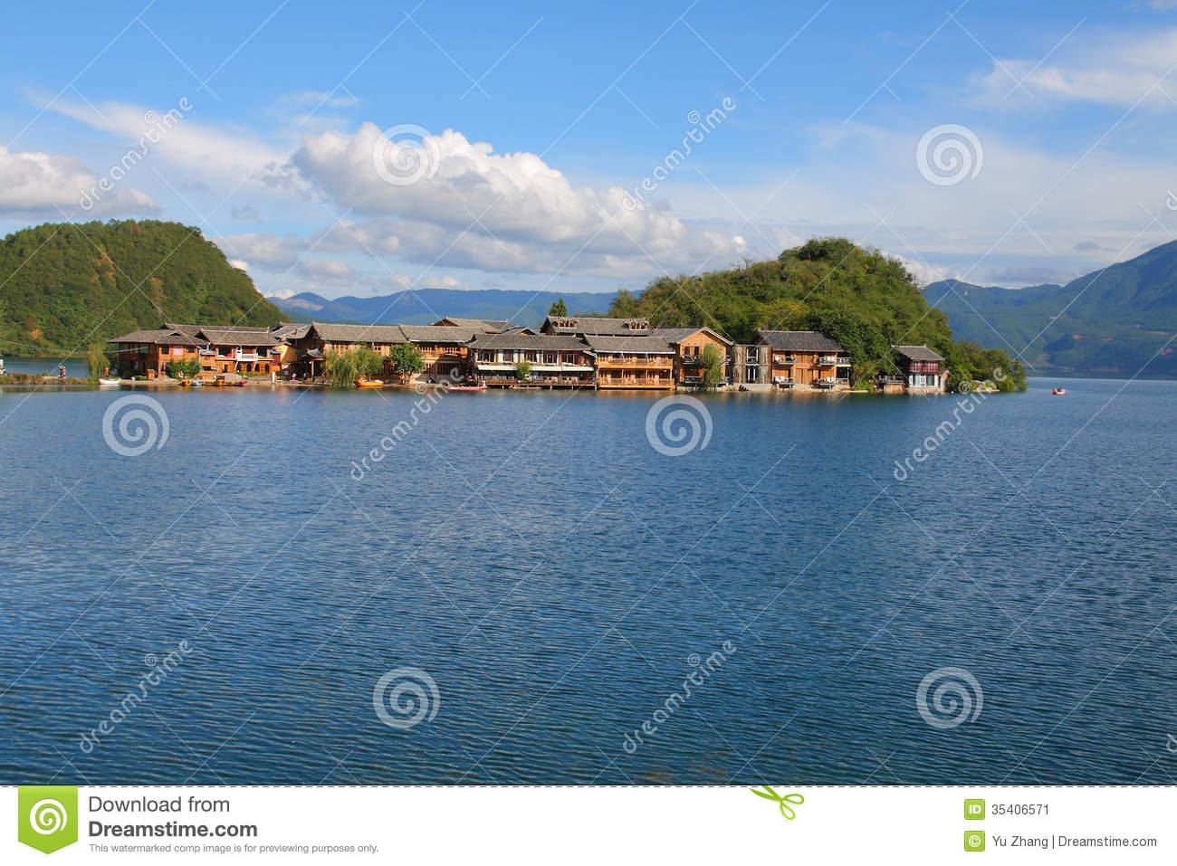 Lige Island In The Lugu Lake, Yunnan, China Stock Image.