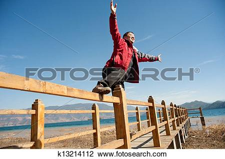 Stock Photo of Chinese side of the Lugu Lake man k13214112.