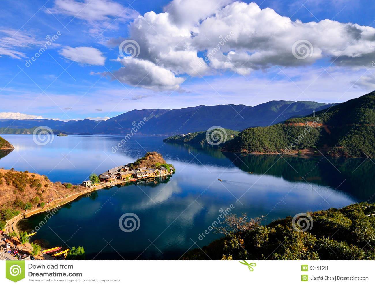 The Enchanting Scenery Of Lugu Lake Stock Image.