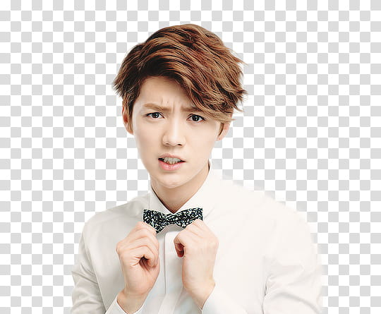 Luhan , man in white dress shirt transparent background PNG.