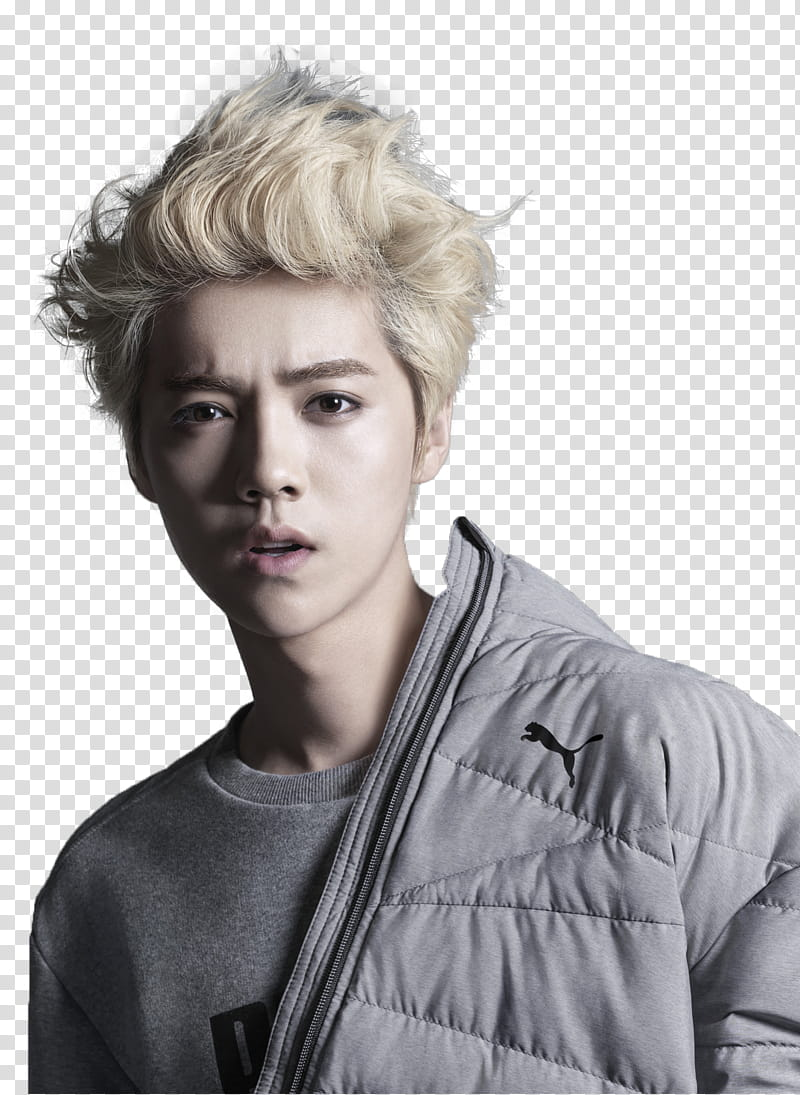 Luhan , man in white Puma jacket transparent background PNG.