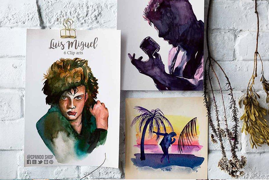 Luis Miguel watercolor clip art.