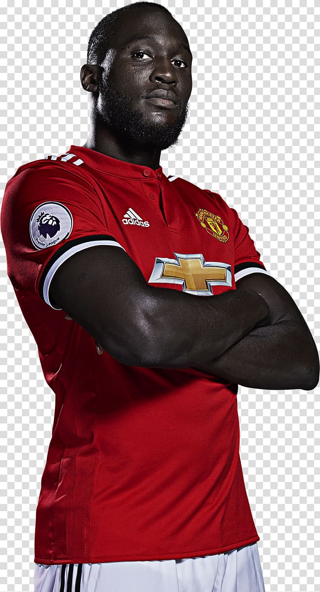 Man wearing red adidas jersey shirt, Romelu Lukaku.