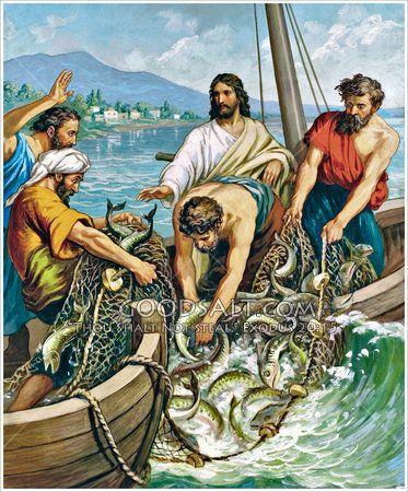 Miraculous catch of fish Luke 5:1.
