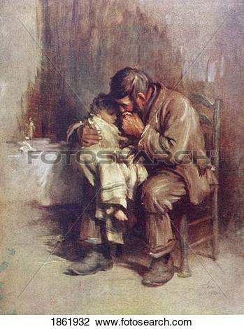 Stock Photo of Motherless. A Widowed Father Comforts His.