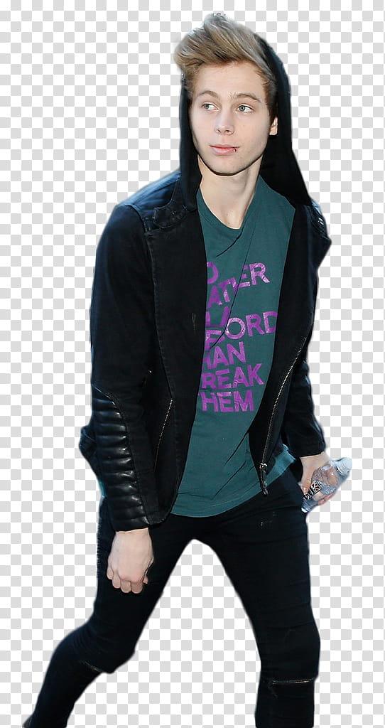 Luke Hemmings Candid , man wearing black jacket transparent.