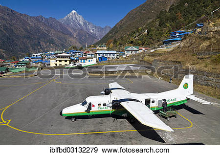 """Stock Photograph of """"Aeroplane getting ready to depart at Lukla."""