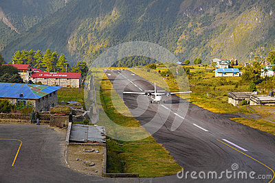Lukla Airport Nepal Editorial Image.