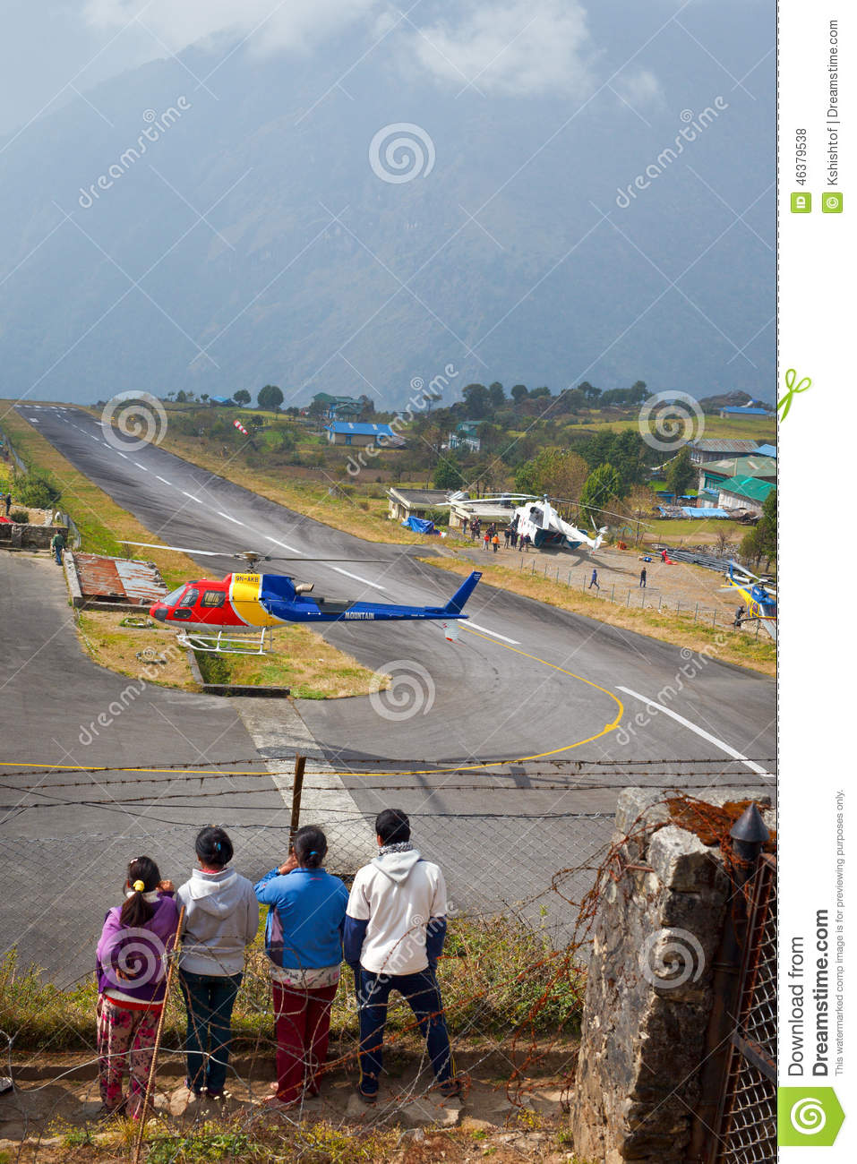 Mountain Helicopter In Lukla Airport Editorial Stock Photo.