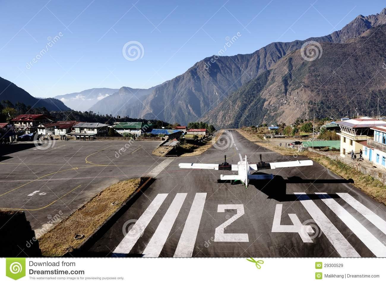 Lane 24 At Lukla Airport. Editorial Stock Image.