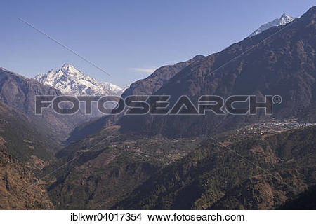"""Stock Photo of """"Sherpa village of Lukla in front of mountain."""