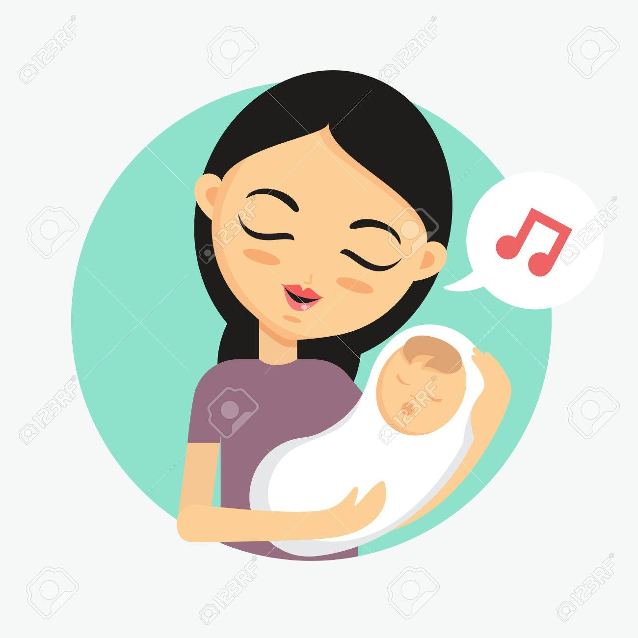 Mother holding her child and sings lullaby. How to take care...