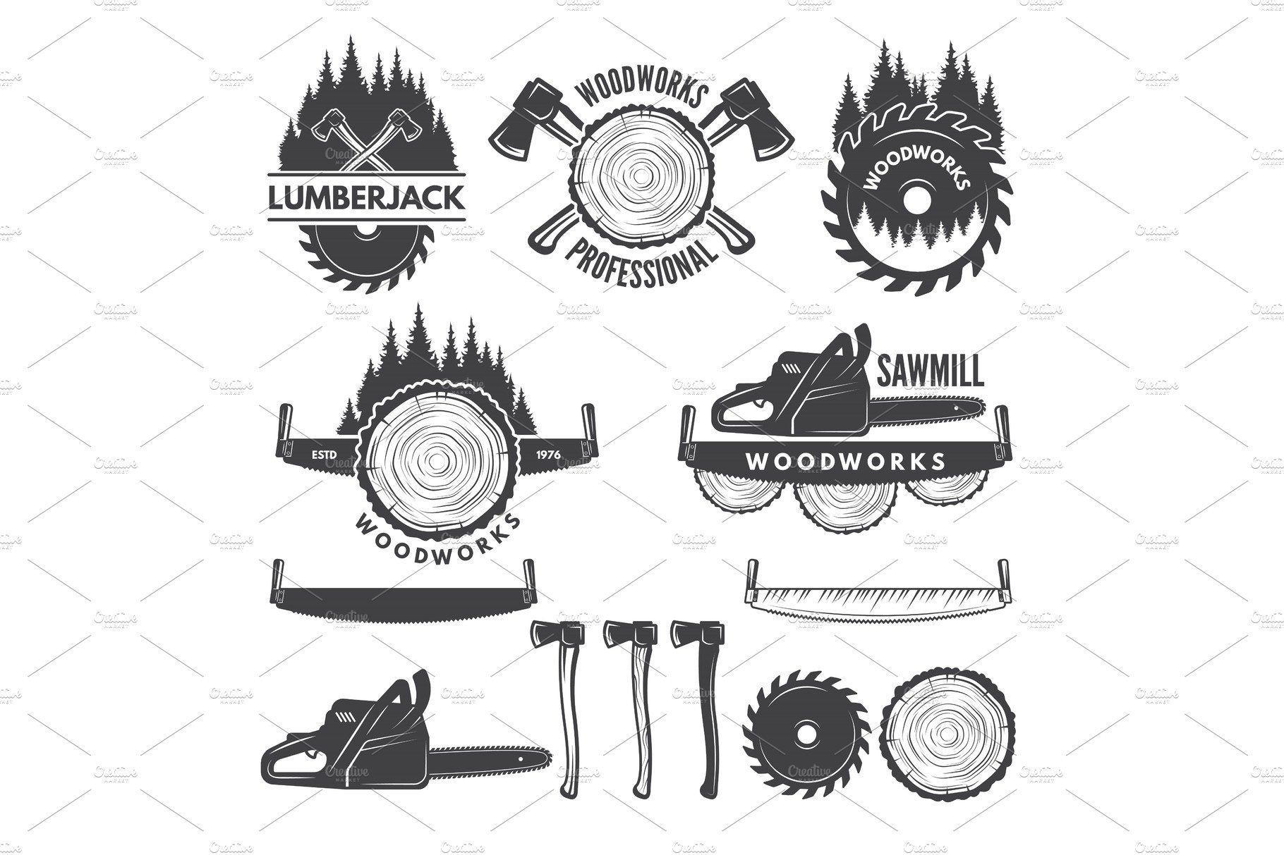 Monochrome labels set with lumberjack and pictures for wood industry.