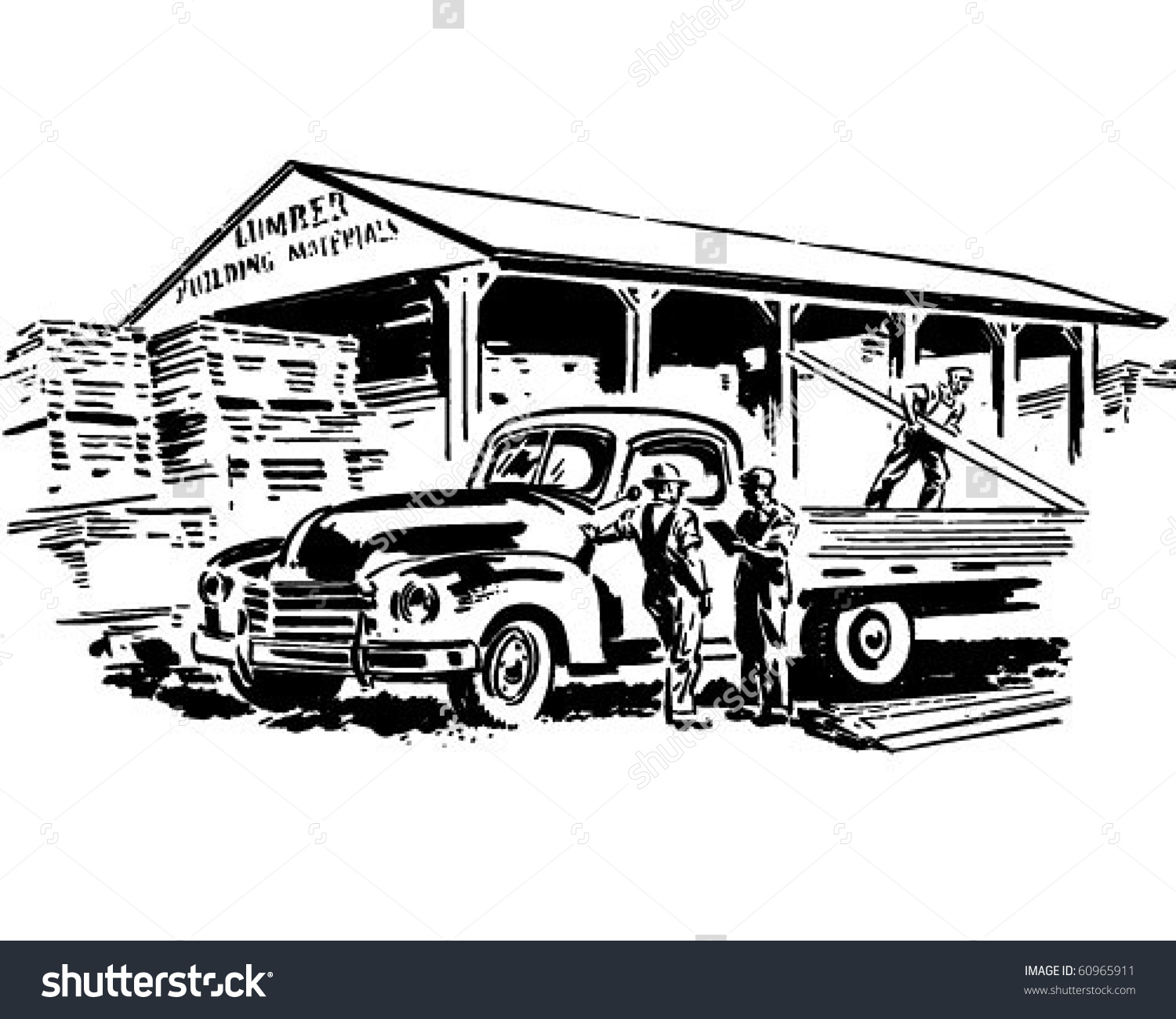 Pickup Truck Lumber Yard Retro Clip Stock Vector 60965911.