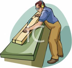 Clip Art Picture of a Man Running A Saw in a Mill.
