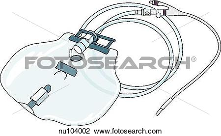 Clip Art of Foley catheter, a urinary catheter with a double lumen.
