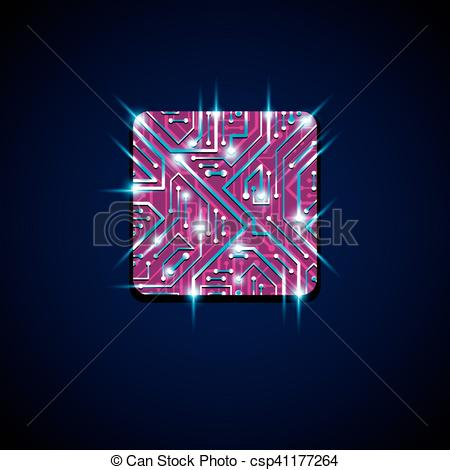 Clip Art Vector of Vector technology cpu design with square.