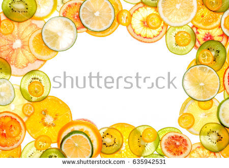 Bright Citrus Fruit Slices Transparent Stock Images, Royalty.
