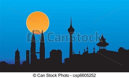 Vector Clipart of kuala lumpur capital city malaysia city skyline.