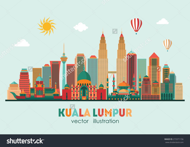 Kuala Lumpur Detailed Silhouette Vector Illustration Stock Vector.