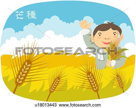 Clipart of around june 6th of lunar calendar, scene, subdivisions.