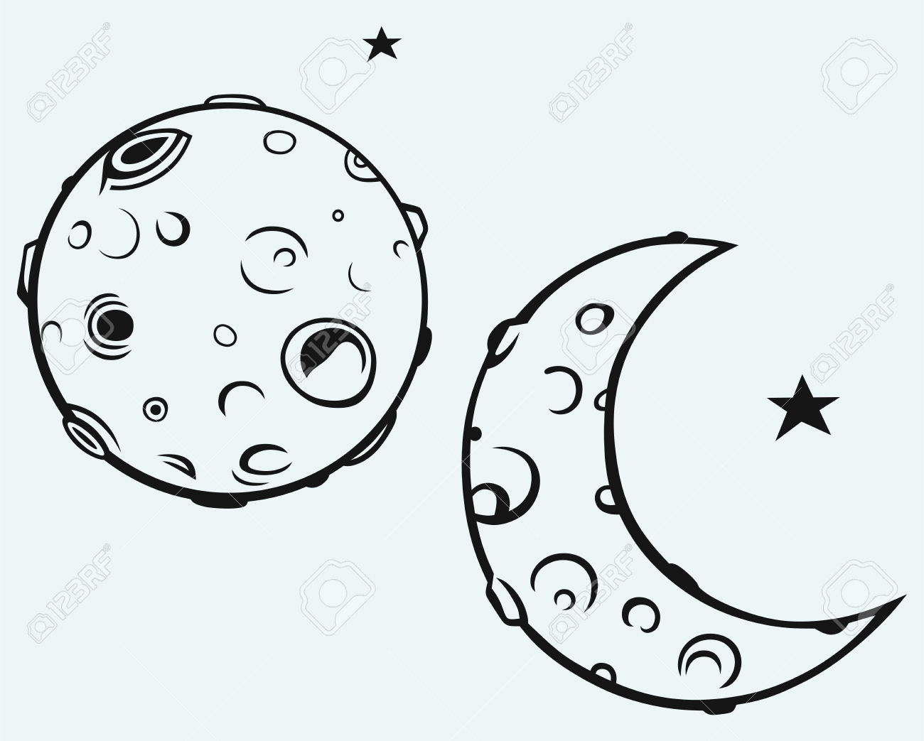 Moon And Lunar Craters Royalty Free Cliparts, Vectors, And Stock.