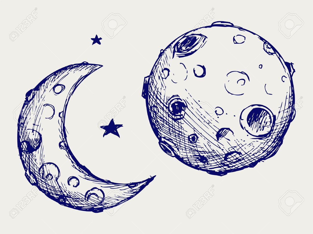 Moon And Lunar Craters. Doodle Style Royalty Free Cliparts.