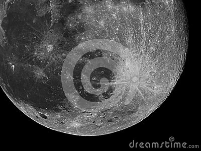 Moon Details And Craters Night Sky Stock Photo.