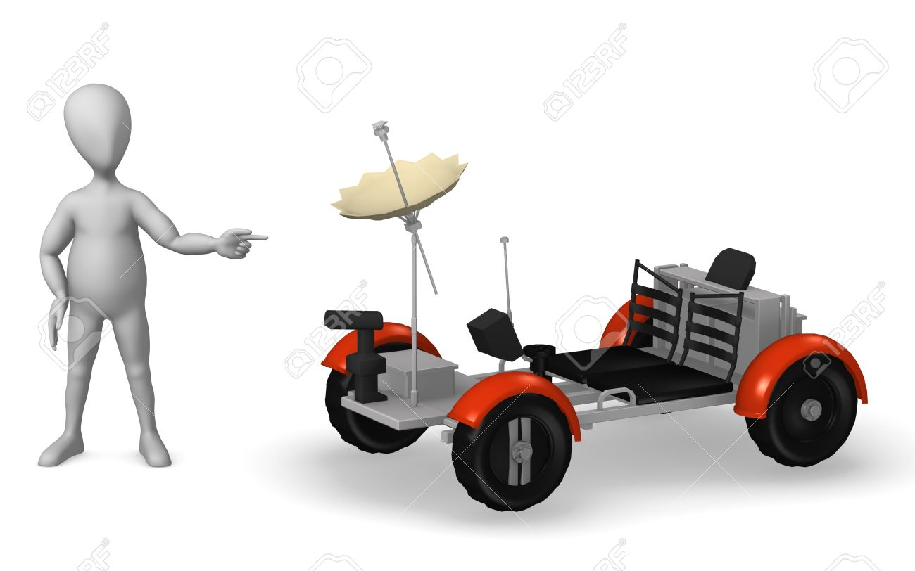3d Rendre Of Cartoon Character With Lunar Rover Stock Photo.