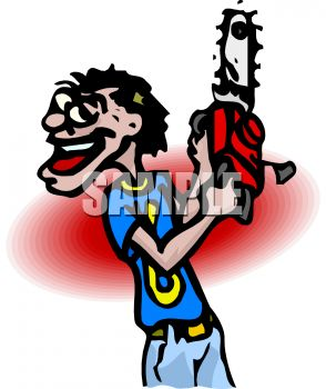 Royalty Free Clip Art Image: Cartoon of a Lunatic with a Chainsaw.