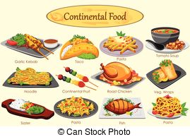Traditional english cuisine lunch food Clipart Vector and.