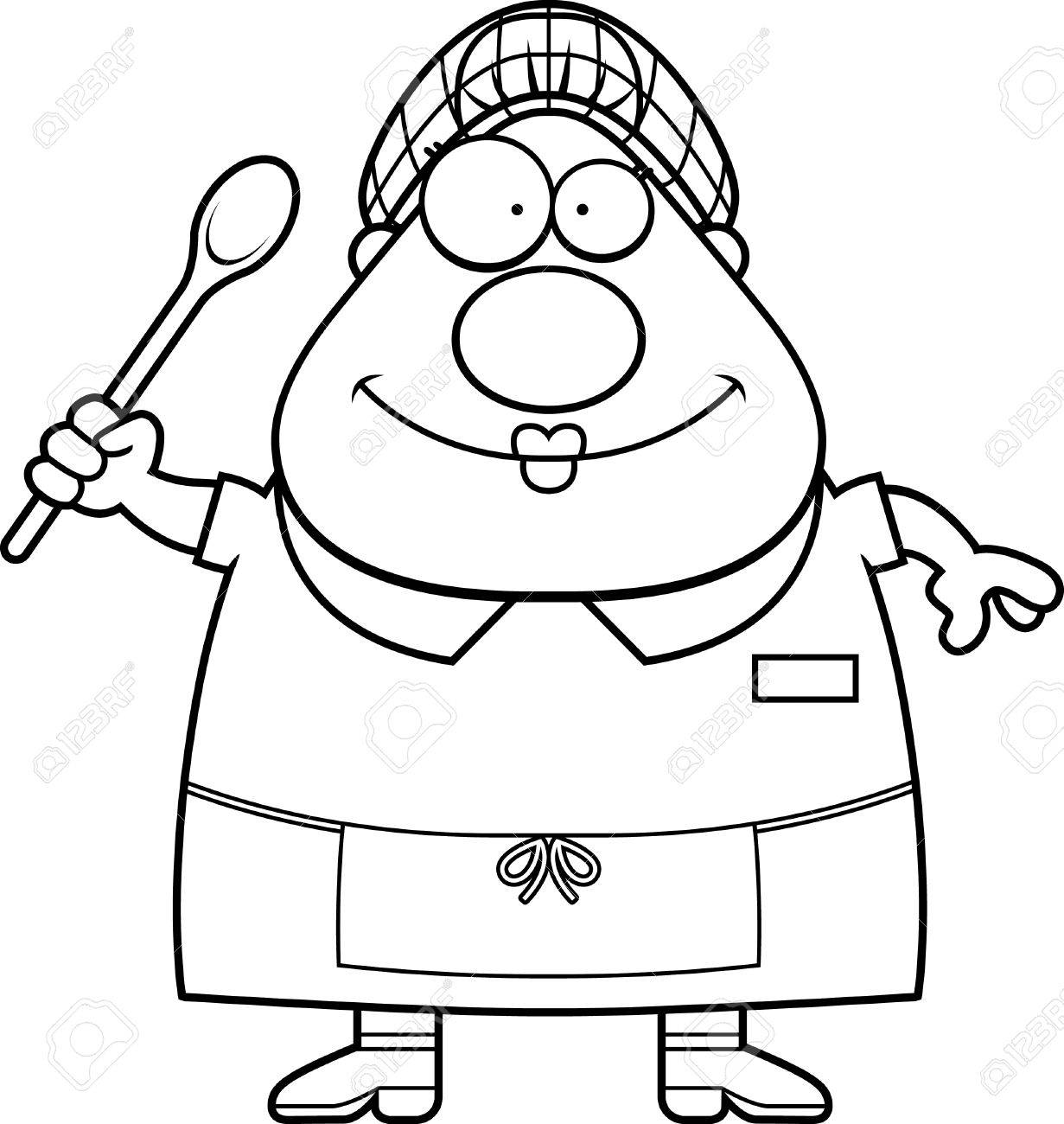 A cartoon illustration of a lunch lady looking happy..