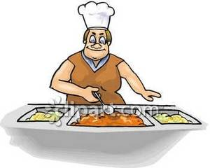 School Lunch Lady Serving Food Royalty Free Clipart Picture.