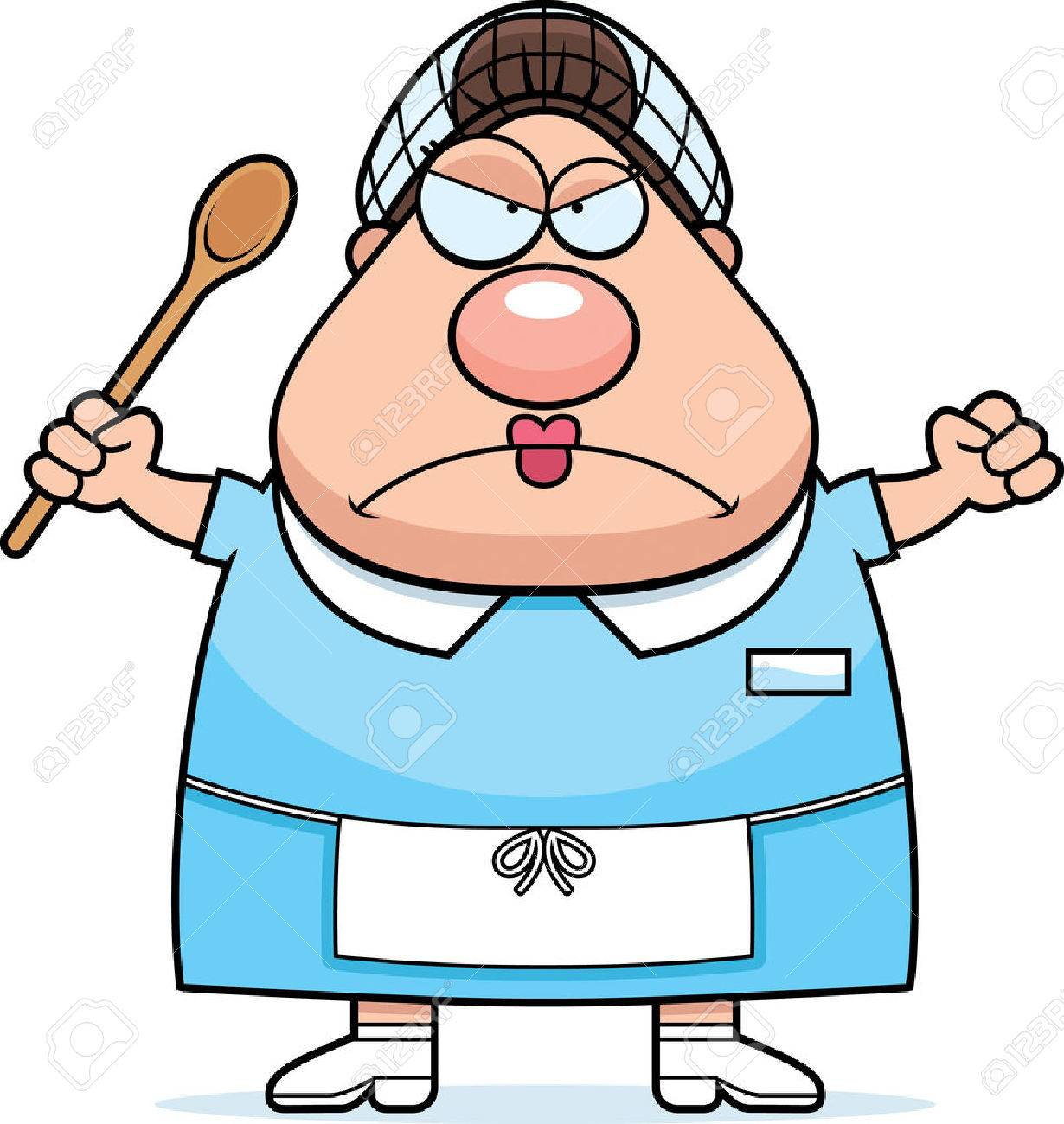 A cartoon illustration of a lunch lady looking angry..