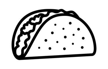 Taco with tortilla shell Mexican lunch line art vector icon.