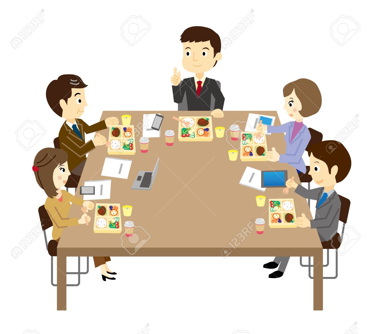 The people who have a lunch meeting.