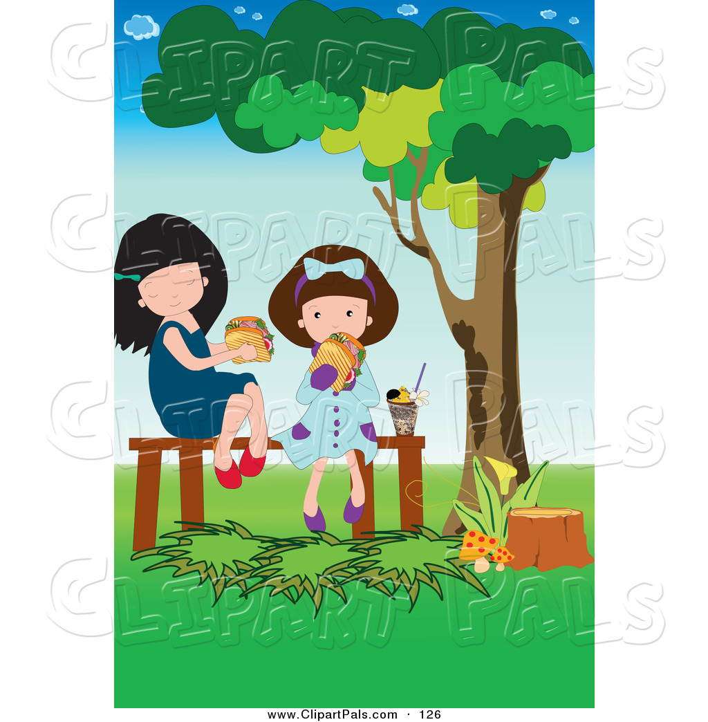 Pal Clipart of a Pair of Girls Eating a Picnic Lunch in a Park by.