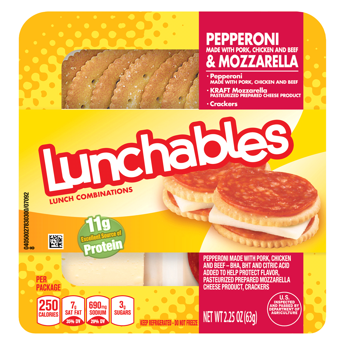 Oscar Mayer Lunchables Pepperoni & Cheese, 2.25 oz Tray.