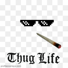 Thug Life PNG Transparent Images Glasses, Joint, Text, Chain.