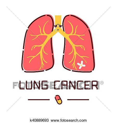 Lung cancer cartoon poster Clipart.