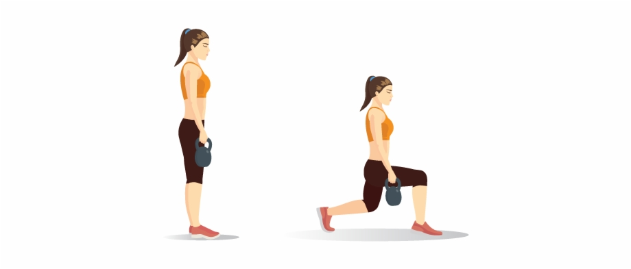 Kettlebell Lunges Aerobic Exercise.