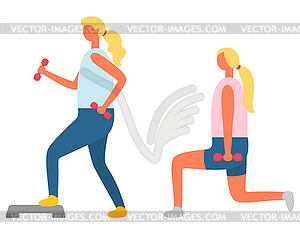 Lunges with Dumbbells and Step, Fitness Exercise.