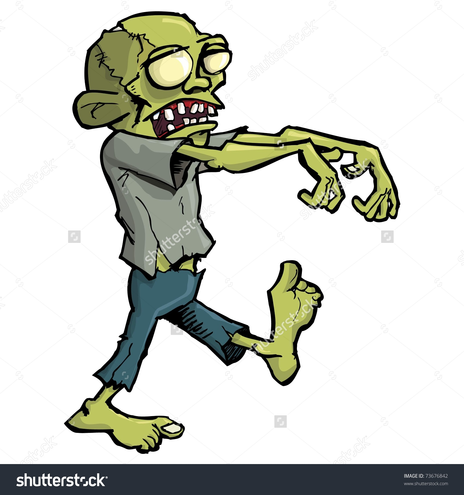 Cartoon Zombie Isolated On White He Stock Vector 73676842.
