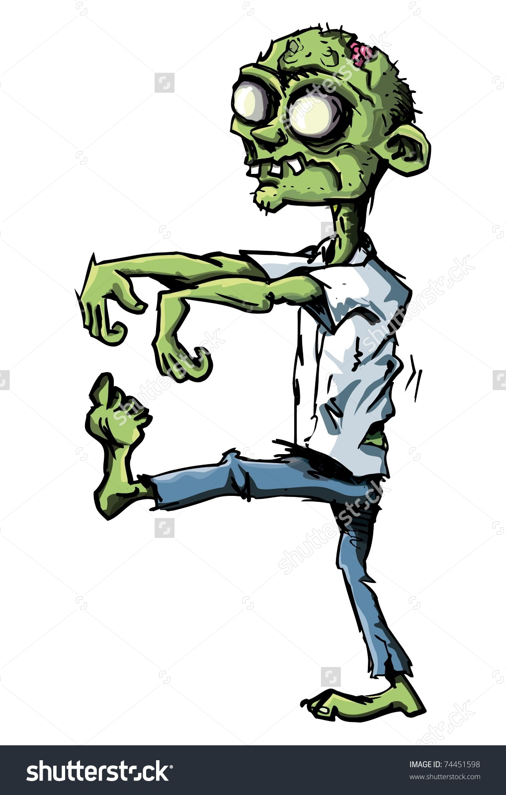 Cartoon Zombie Isolated On White He Stock Vector 74451598.