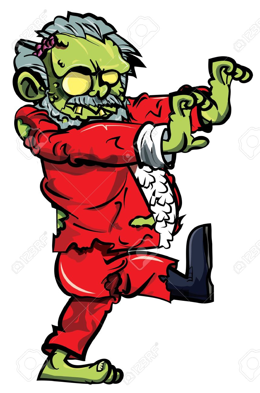 Cartoon Zombie Santa Lurching. Isolated On White Royalty Free.