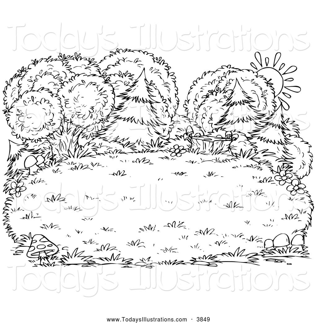 Clipart of a Black and White Sun Behind Lush Trees and Bushes by.