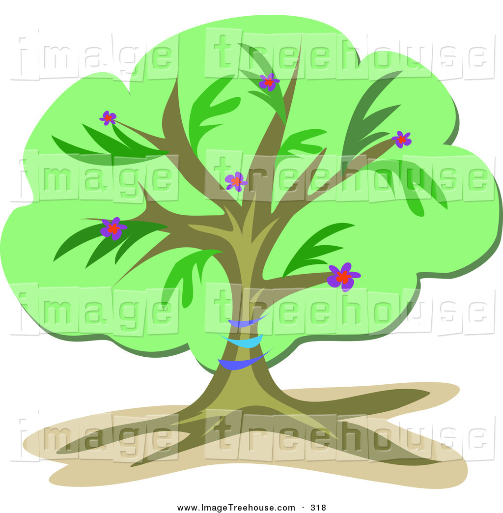 Clipart of a Lush Leafy Green Tree with Blue Bands Around the.